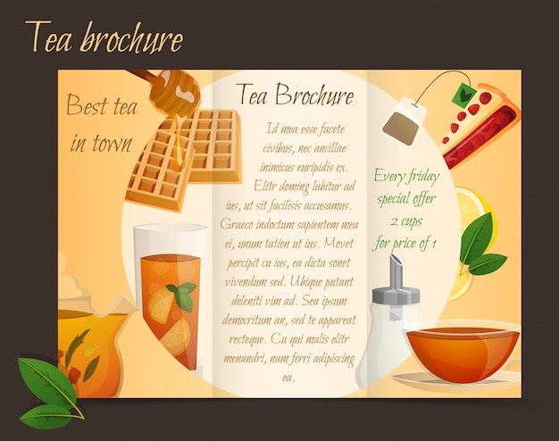 Tea Brochure Tri Fold Free Vector