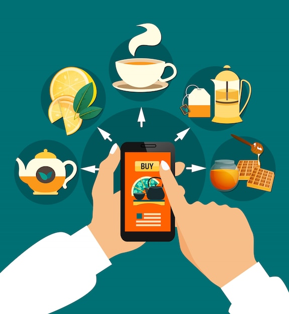 Tea buying online composition Free Vector