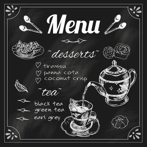 Tea cafe blackboard menu for black herbs blend teapot with dessert chalk sketch vector illustration Premium Vector