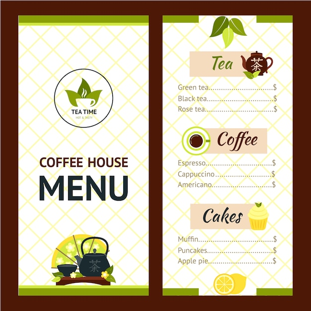 tea cafe menu vector free download