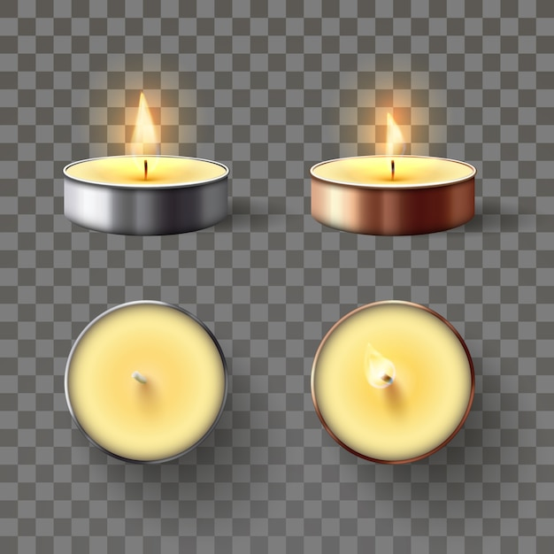 Tea candle. romantic candles in metal flame, relaxing wax candle fire and spa aromatherapy candlelight isolated 3d vector set Premium Vector