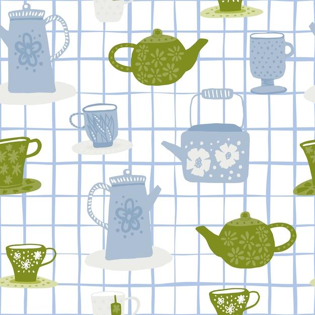 茶道落書きのシームレスなパターン。チェックと白い背景。緑と青のカップとティーポット。 Premiumベクター