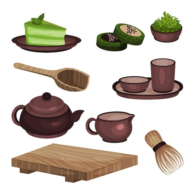 Набор оборудования для чайной церемонии, символы времени чая и аксессуары мультяшный иллюстрации Premium векторы