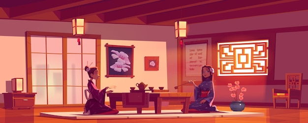 アジア料理店での茶道、中国や日本のカフェで伝統的な着物を着る女性 無料ベクター