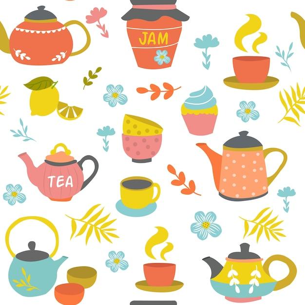 茶道のシームレスパターン 無料ベクター
