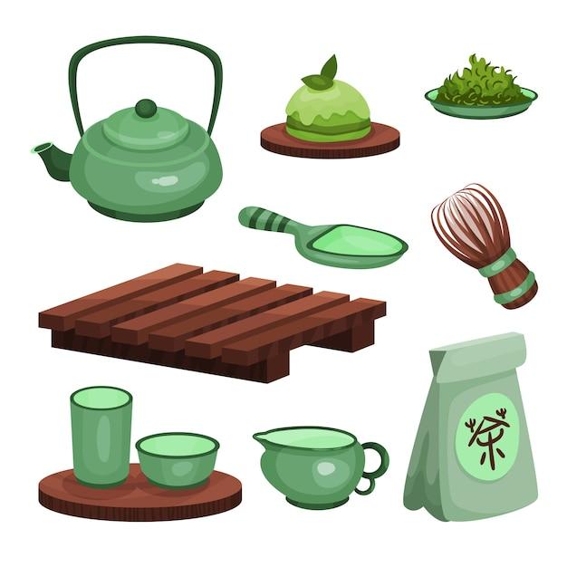 Набор чайной церемонии, символы времени чая и аксессуары мультяшный иллюстрации Premium векторы
