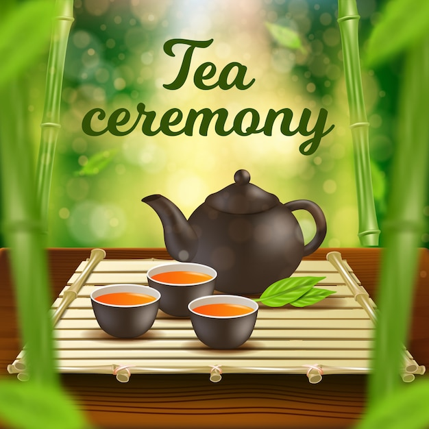 Tea ceremony vertical banner clay pot and cups set Premium Vector