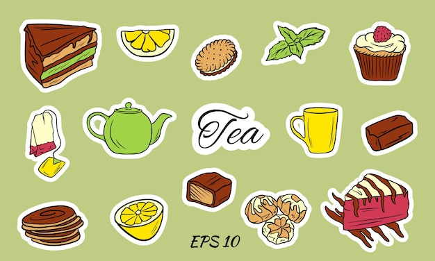 Чайная церемония с иконами на белом фоне. набор чайных принадлежностей: чашка, чайник, чайный пакетик, чайные принадлежности, стакан в плоском стиле. символы вектора времени чая. Premium векторы