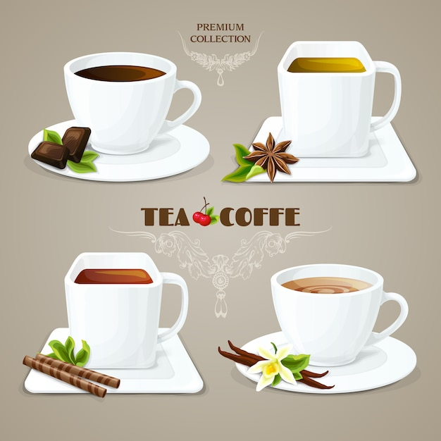 Tea and coffee cups set Free Vector