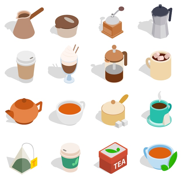 Tea and coffee set in isometric 3d style isolated on white background Premium Vector