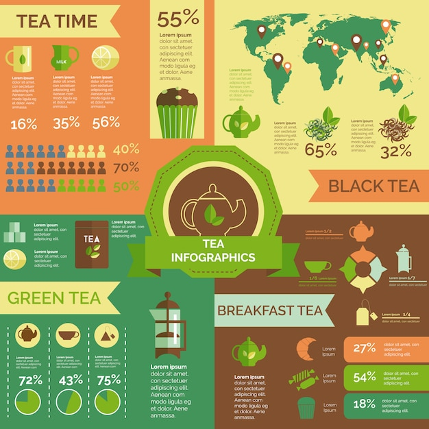 Tea consumption world wide infographic layout Free Vector