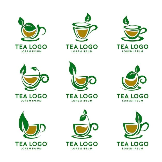 Tea cup logo design set Premium Vector