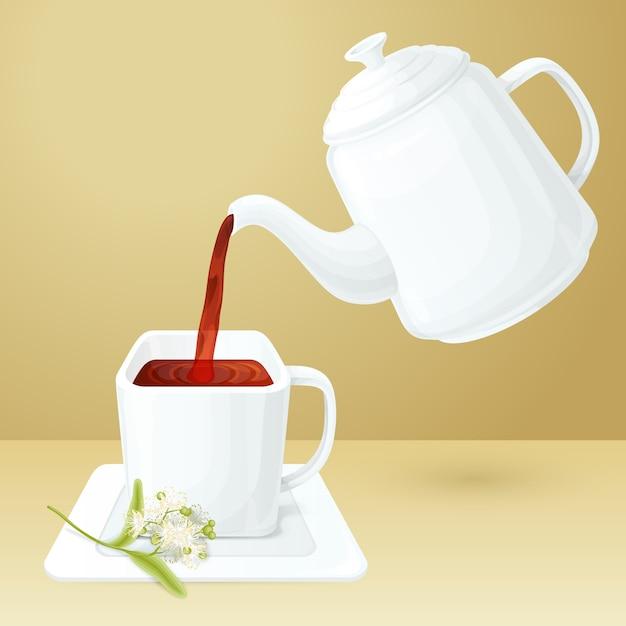 Tea cup and pot Free Vector