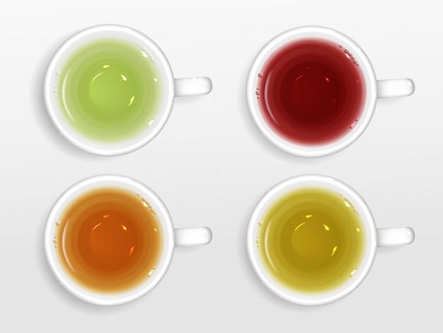 Insieme di vista superiore delle tazze di tè isolato Vettore gratuito