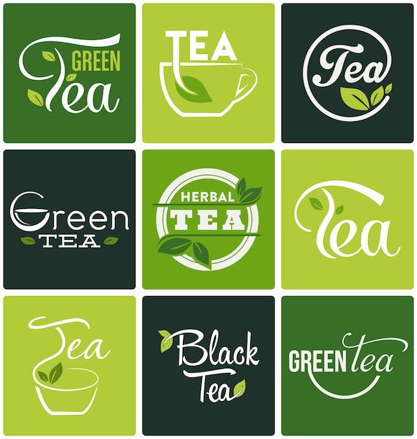 Tea designs collection Free Vector