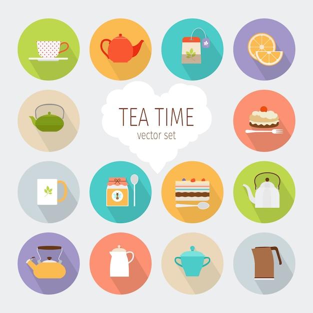 Tea flat icons Premium Vector