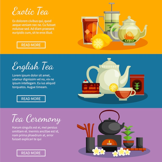 Tea horizontal banners set with english and exotic tea symbols flat isolated vector illustration Premium Vector