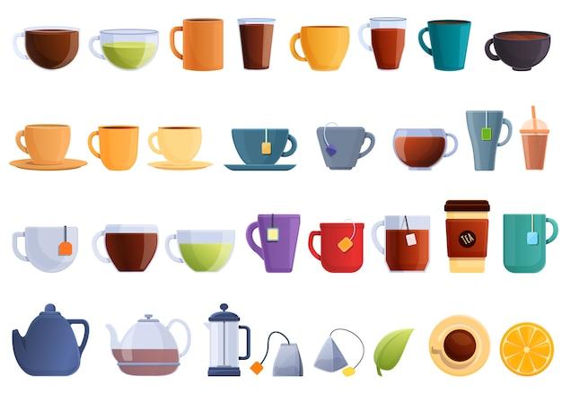 Tea icons set. cartoon set of tea vector icons Premium Vector
