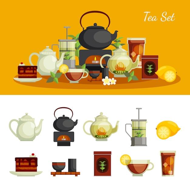Tea icons set with lemon sugar Free Vector
