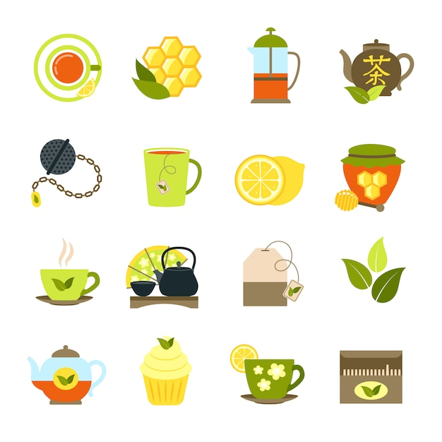 Tea icons set Free Vector