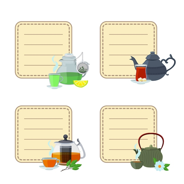 Tea kettles and cups stickers Premium Vector
