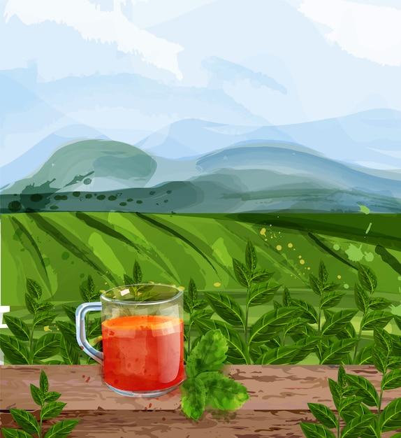 Tea landscape watercolor Premium Vector