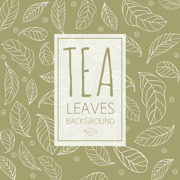 Tea leaves background in hand drawn style Free Vector