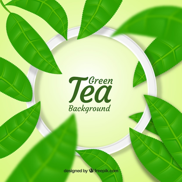 Tea leaves background in realistic style