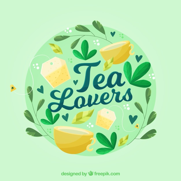 Tea leaves background with cups Free Vector