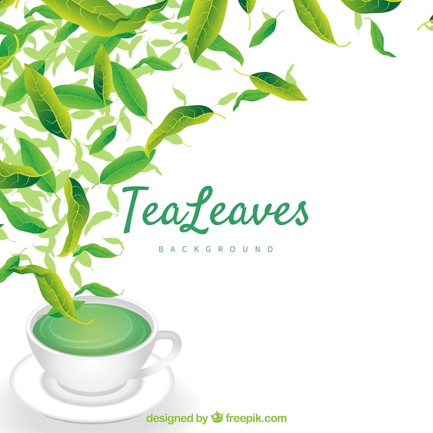Tea leaves background with flat design Free Vector