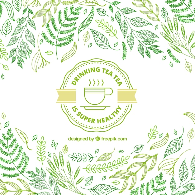 Tea leaves background with hand drawn style Free Vector