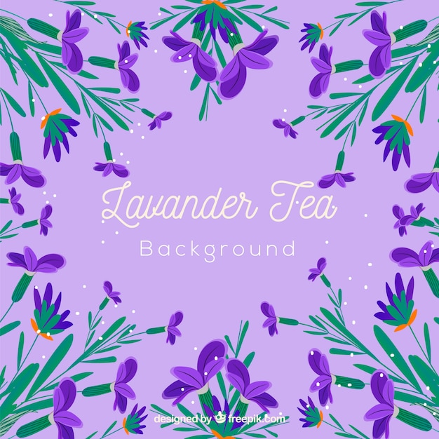 Tea leaves background with lavander\ aroma