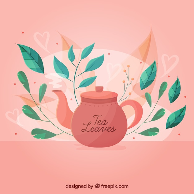 Tea leaves background with tea pot Free Vector