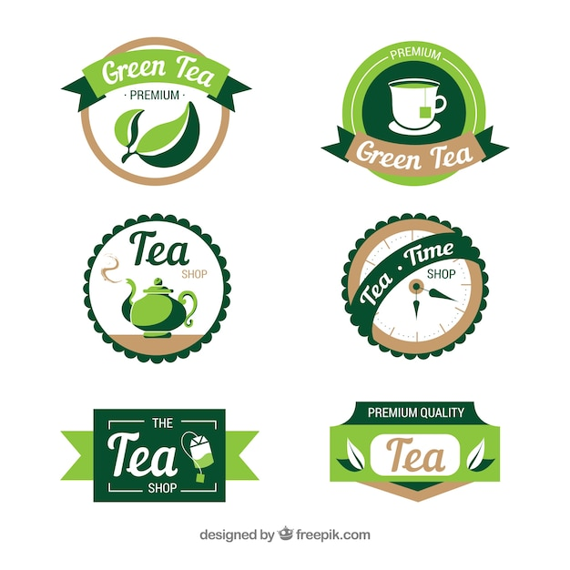 Tea leaves logo collection Free Vector