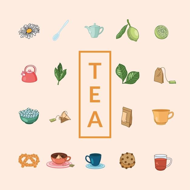 Чайная линия и дизайн коллекции иконок в стиле заливки, тема для завтрака и напитков. Premium векторы