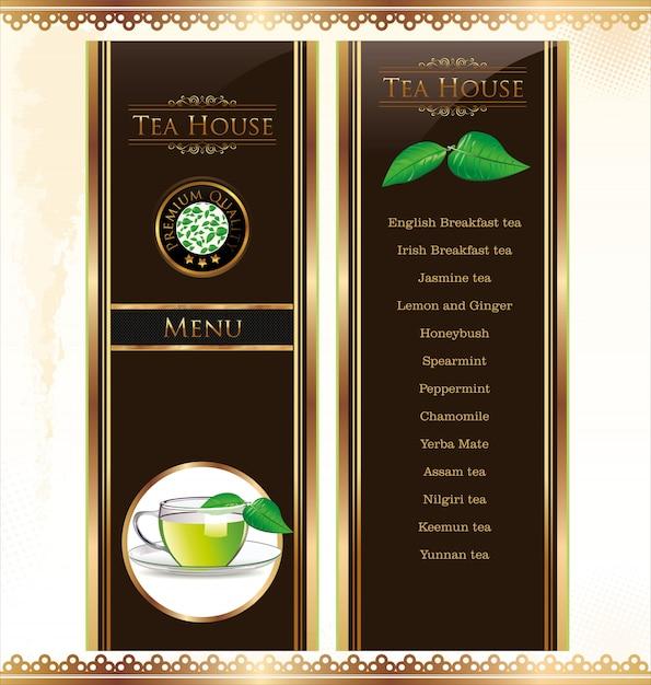 Tea menu card Premium Vector