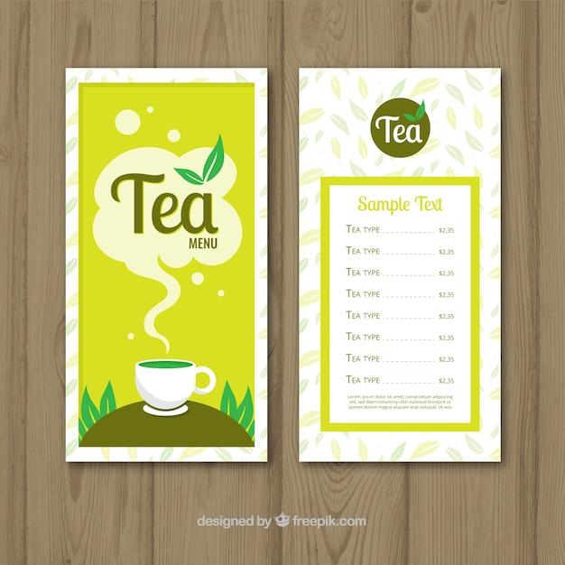 Tea menu template in flat style Free Vector
