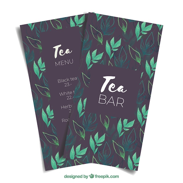Tea menu template to tearoom Free Vector