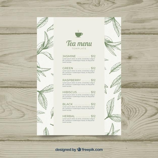 Tea menu template with beverage list Free Vector