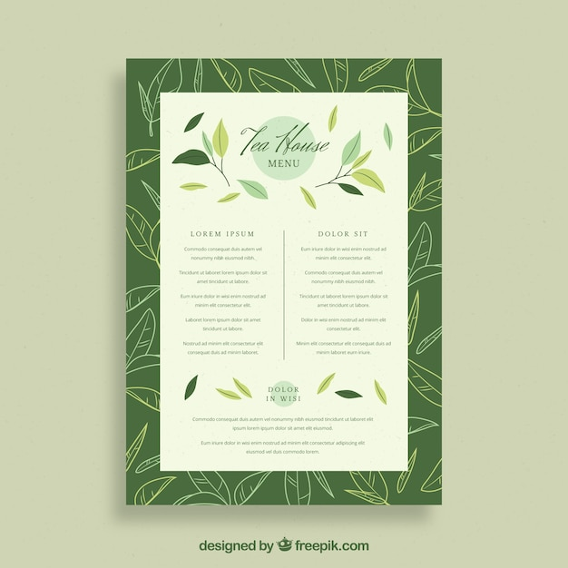 Tea menu template with beverages list Free Vector
