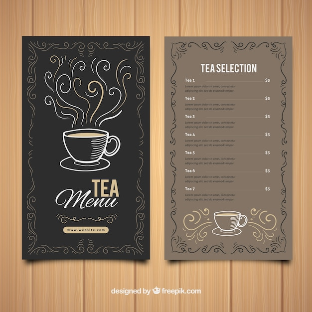 tea menu template with beverages list vector free download