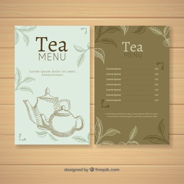 Tea menu template with different beverages Free Vector
