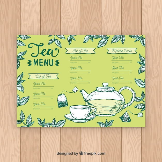 Tea menu template with different flavors Free Vector