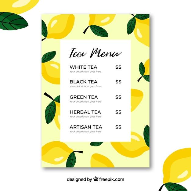 Modello di menu del tè con bevande Vettore gratuito