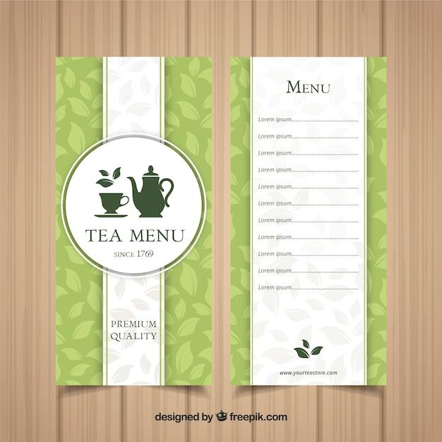 Tea menu template with drinks Free Vector