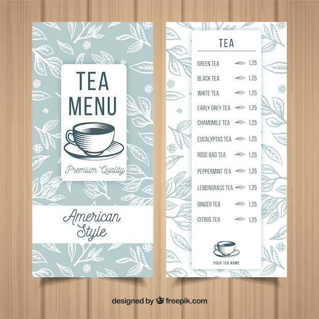 Tea menu template with drinks Free Vector