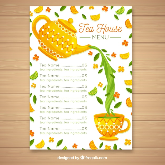 Tea menu template with flat design Free Vector