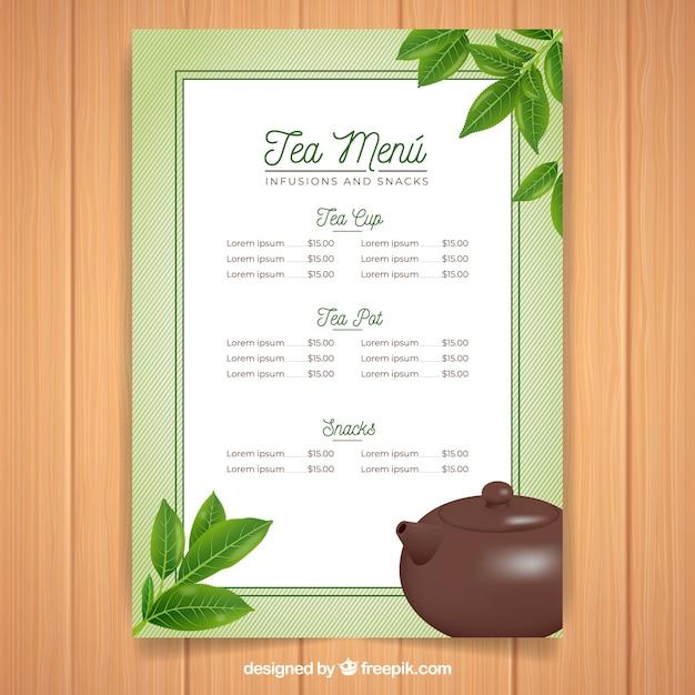tea menu template with realistic design vector free download