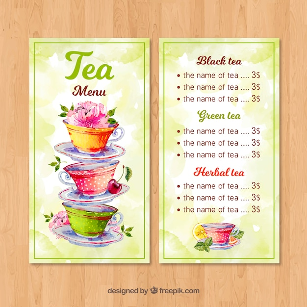 Tea menu template with watercolor style Free Vector