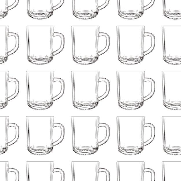 Tea mug seamless pattern. hand drawn glassware cup. Premium Vector